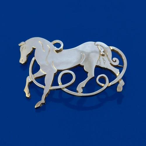 Celtic Beastie Horse Brooch
